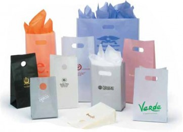 Frosted Clear and Color Bags with Die Cut Handles
