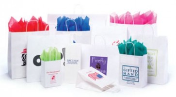White Kraft Shoppers -Custom