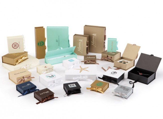 Deluxe ribbon jewelry boxes for Custom jewelry packaging manufacturers